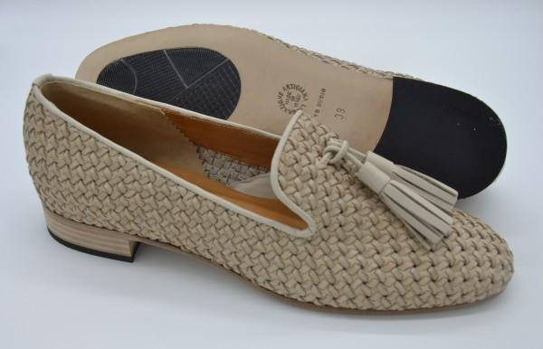 Damen Schuh geflochtenes Leder